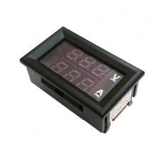 Вольтметр + амперметр встраиваемый цифровой M65 100В 10А